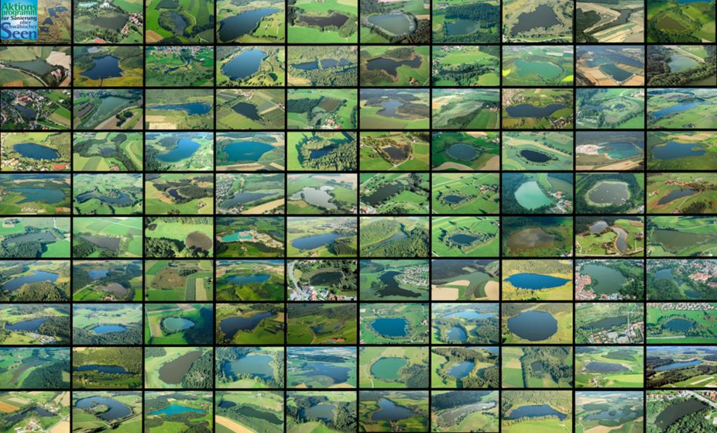 Ein Mosaik mit vielen kleinen Ansichten von Seen und Weihern